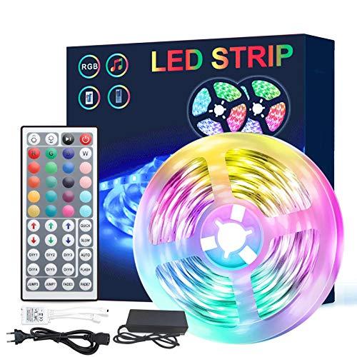 LED Strip 5m, Farbwechsel LED Streifen Wasserdicht mit 44 Key-IR Fernbedienung, SMD 5050 RGB LED Band Farbwechsel, für die Beleuchtung und Dekorative von Haus, Party, Küche, Draussen