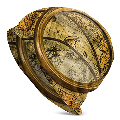 Retro Slouchy Beanie Jersey Vintage Lupa, brújula, telescopio y un Reloj de Bolsillo sobre un Mapa Antiguo. Sombrero Holgado Holgado de otoño