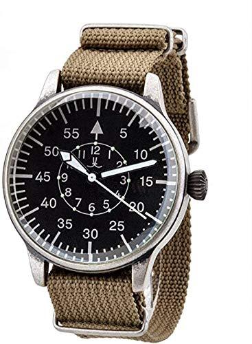Big Military - Reloj de aviador (42 mm, mecanismo de cuarzo, piloto de piloto de piloto