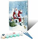 Vfvozr Kit de Pintura por números para_Soñar con Papá Noel Nevado_Adultos Paisaje DIY Pintura al óleo por número_Regalos de cumpleaños para Adultos Niños Pintura_30x45cm_Sin Marco