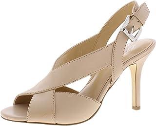 Womens Becky Leather Peep-Toe Heels