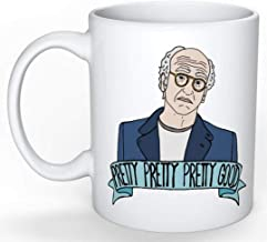 SkyLine902 - Larry David Mug (Curb your Enthusiasm, Jerry Seinfeld, George Costanza, Elaine Benes, Cosmo Kramer, SNL Amy Schumer), 11oz Ceramic Coffee Novelty Mug/Cup, Gift-wrap Available