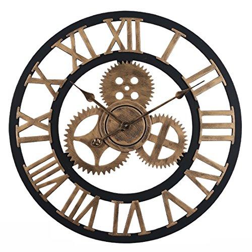 YAHAMA Reloj Pared Grande XXL Vintage Reloj Pared 60 cm Vintage Reloj Pared Grande Retro Romano, Dorado