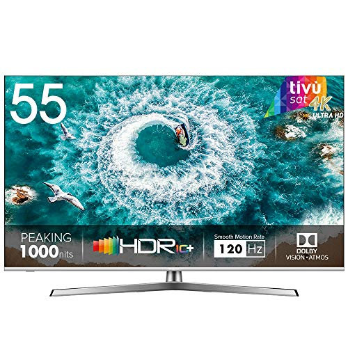 "HISENSE H55U8BE Smart TV ULED Ultra HD 4K 55"", Dolby Vision HDR 1000, Dolby Atmos, Unibody Design, Ultra Dimming, Tuner DVB-T2/S2 HEVC Main10 [Esclusiva Amazon - 2019]"