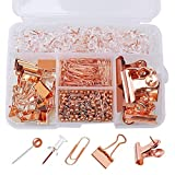 SUMAJU 500 Pcs Paper Clips Binder Clips Push Pins Map Tacks Set, 5 Styles Rose Gold Clips with Box for Office, School and Home Supplies (Rose Gold)