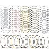 60Pcs Expandable Bangle Bracelet Adjustable Bracelets Blank Wire Bangle for Women DIY Jewelry Making, 12 Pcs Each Color