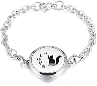 Minicremation Love Cat Shape Memorial Perfume Pendant Bangle Stainless Steel Essential Oil Diffuser & Free 12 Refilled Pads