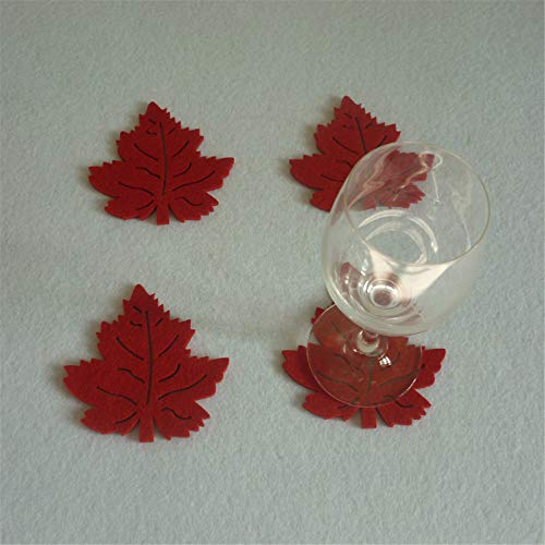 Fasclot Christmas Home Insulation Non-Slip Leaf placemat Cup mat 4PC
