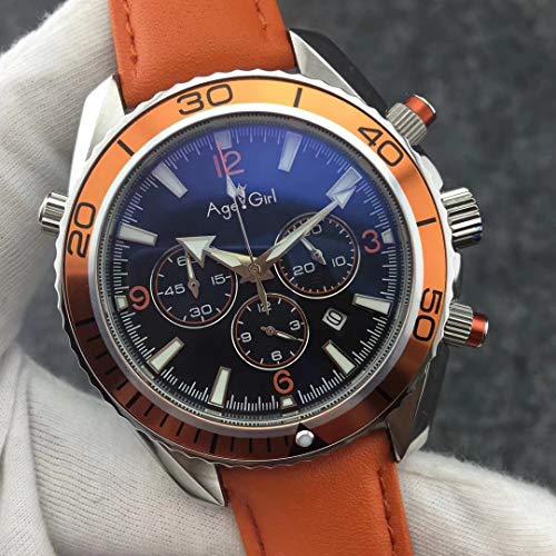 Luxury Brand Uomo Orologi da Immersione Sportivi Professionali Fashion Acciaio Inossidabile Arancione Blu Nero Cronografo al Quarzo Master Impermeabile inPelle Arancione