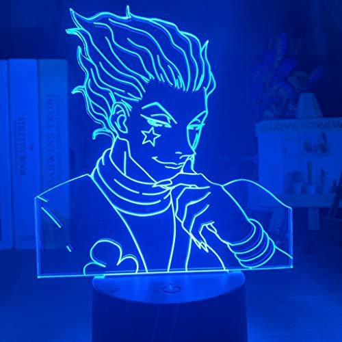 MRFX Hisoka, 3D-Bild Led-Nachtlicht, Hunter × Hunter, USB7 Farbe 16 Farbe Nachttischlampe, Kinder Karikatur-Geschenk, 3D-Cartoon-Noten-Licht, Kinder/Weihnachten/Geburtstag/Geschenk