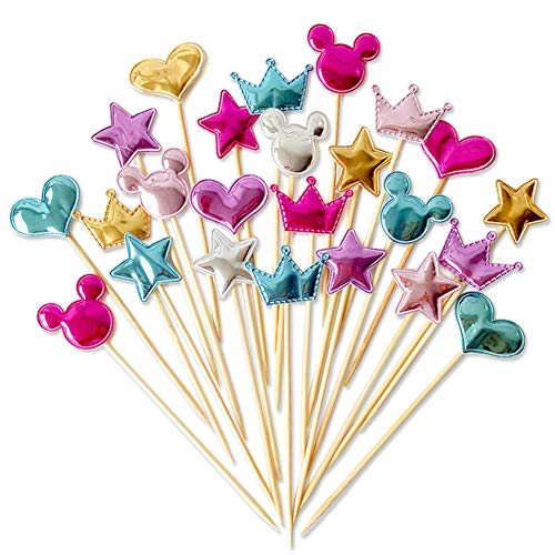 SUKPSY 40 Pcs Coforful Cake Topper Crown Stars Heart Cupcake Topper Flags for Happy Birthday Party Wedding Baking Supplies Cake Decoration