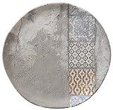 H&H Malaga Set 12 Plano Llano, Stoneware, 26cm, Gres, gris