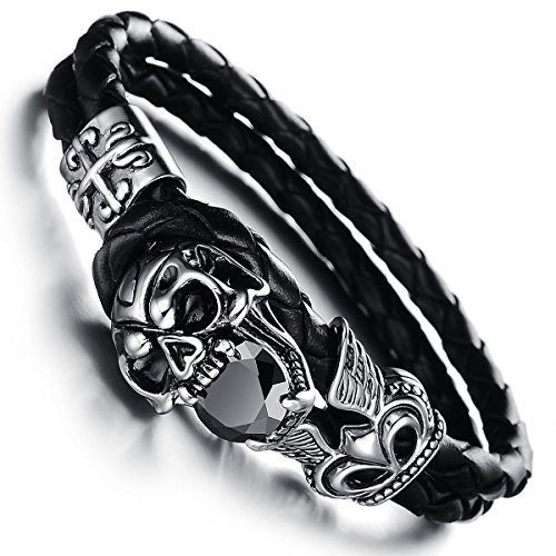 JewelryWe Schmuck geflochten Leder Armband, Gotik Schädel Totenkopf Krone 2 Lederkette Lederarmband Damen Herren Armreif, Schwarz Silber 18cm, mit Geschenk Tüte