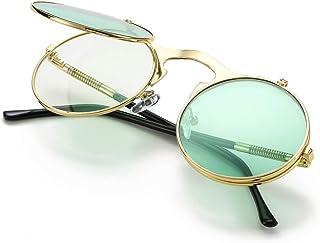 09d4b02d8bb COASION Vintage Round Flip Up Sunglasses for Men Women Juniors John Lennon  Style Circle Sun Glasses