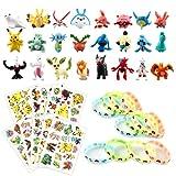 Figuras Pokemon Monster, Monster Mini Figure, 24 Mini Figuras Pikachu, 12 Figuritas Pulsera de Silicona, 8 Hojas Tatuajes Temporales para Niños Niñas, Fiesta para Niños y Adultos