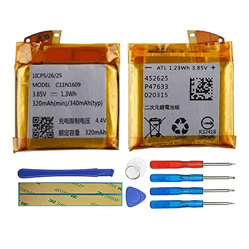 Duotipa Batería de repuesto C11N1609 compatible con Asus ZenWatch 3 (WI503Q) Smartwatch batería con herramientas