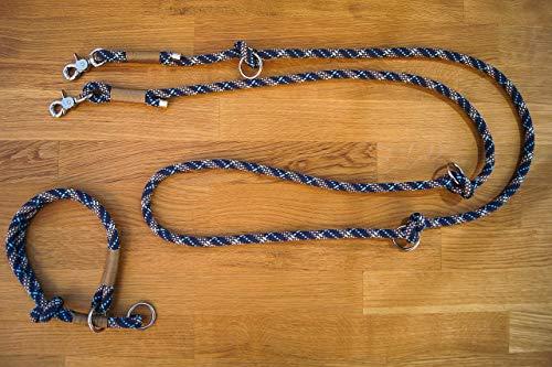 gestaltbare Hundeleine & Retrieverhalsband, Zug-Stopp-Halsband im Set aus Tau individualisierbar