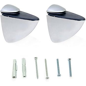 tama/ño peque/ño 2 abrazaderas ajustables para estante de cristal 55 x 56 mm color blanco pel/ícano