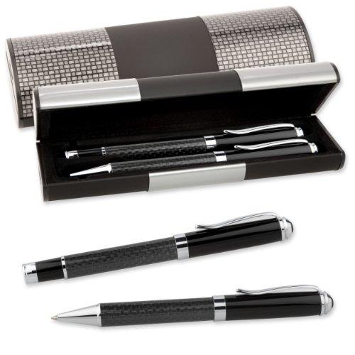 LOGIC-Etui mit SCHREIBSET CARBON 2-teilig Kugelschreiber Tintenroller (121-54)