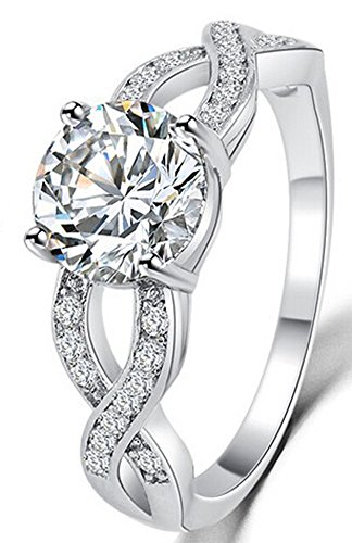 SaySure - Romantic Unique Design Hollow Crystal Ring (SIZE : 8.5)
