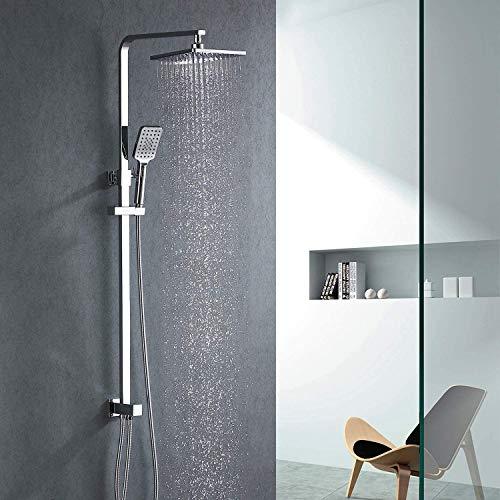 Lonheo Duschsystem Duschset ohne Armatur, Überkopf-Brauseset eckig zur Nachrüstung chromoptik