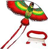 Cometas Para Adultos Cometa Cometa para niños Parrot Kite Fácil de volar con 2 colas rojas extra largas Adultos Profesionales principiantes Viaje al aire libre Competencia de campamento Deportes div