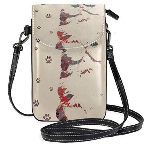 Animal Art Cat Print Feline Crossbody Bag Monedero pequeño para teléfono Celular para Mujer