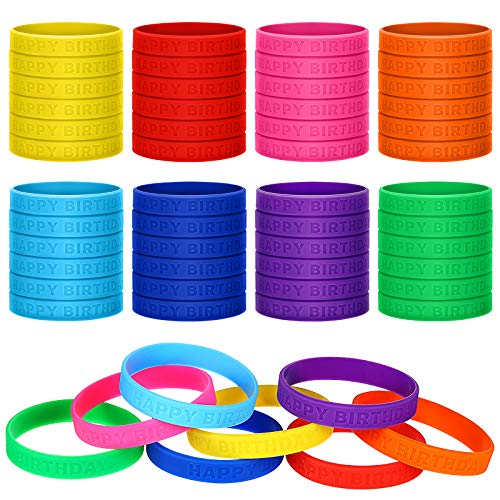 48 Pieces Happy Birthday Rubber Bracelets Colored Silicone Stretch Wristbands Silicone Birthday Bracelets for Birthday Party Supplies, 8