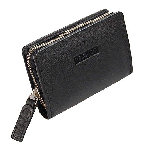 Branco Mini Reißverschluss Geldbörse Leder Geldbeutel Münzbörse PortmoneeGoBago (Schwarz)