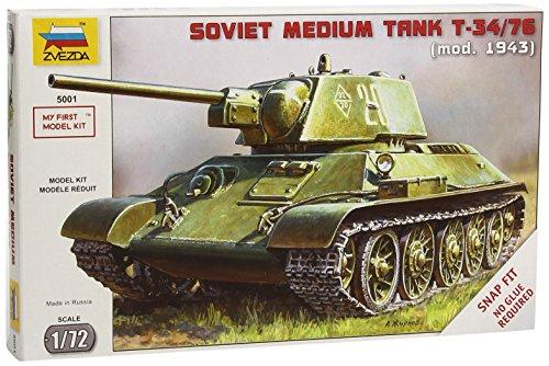 Zvezda 500785001 - Maqueta de Tanque Ruso T34/76 Snap-Fit de la Segunda Guerra Mundial (Escala 1:72)