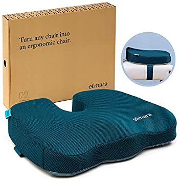 Elmara Seat Support Cushion - with Strap to Secure Cushion to Chair to Stop Sliding - Coccyx Memory Foam Seat Cushion for Office Chair at Desk - Car Seat Cushion for Back Pain - Tailbone Pain Relief