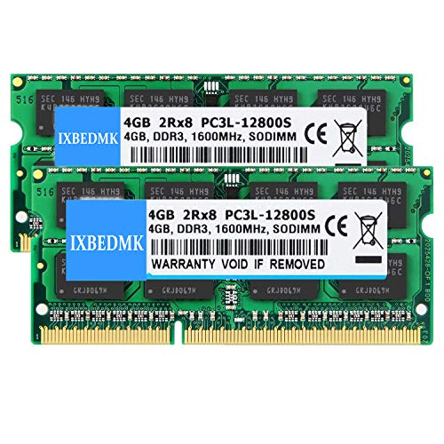 8GB Kit (2 X 4GB) 2RX8 PC3L-12800S DDR3L 1600MHz SO-DIMM CL11 204 Pin 1.35v/1.5v Notebook Memory Laptop RAM Module Non-ECC Unbuffered Compatible with Intel AMD and Mac System