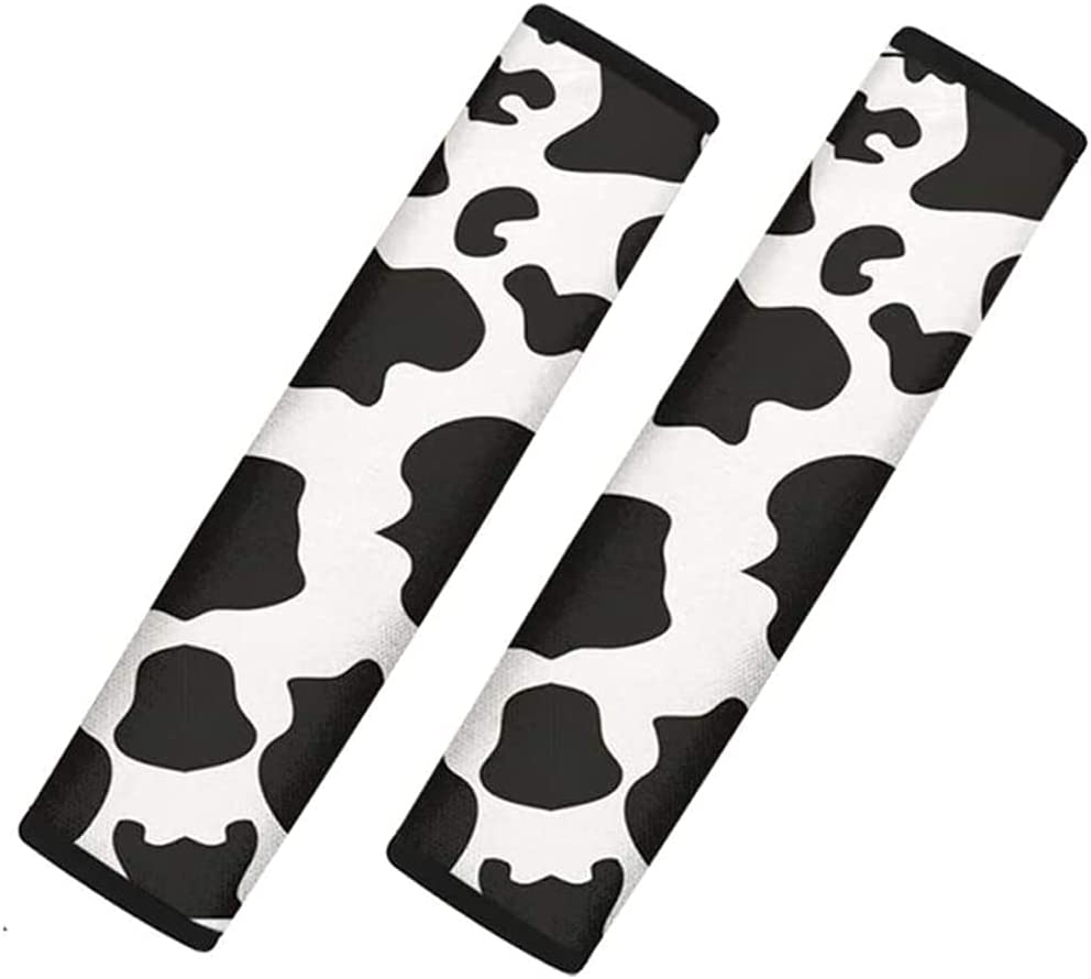 2 Packs Cow Print Seat Belt Cover Shoulder Seatbelt Pad for Adults Youth Kids,Universal Cow Print Car Seat Belt Pads Backpack Straps,Soft Comfort Diving Cloth (Cow Print)