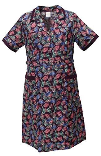 Knopfkittel mit kurzem Arm Hauskleid Kittel Schürze Kragen bunt, Größe:58, Design:Design 1