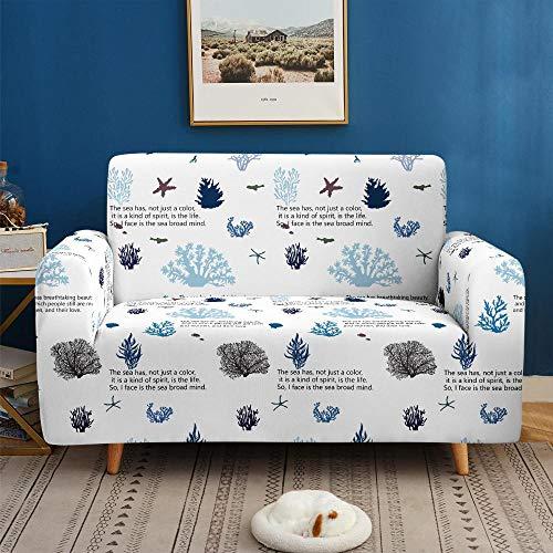 Funda de sofá de 3 Plazas Funda Elástica para Sofá Poliéster Suave Sofá Funda sofá Antideslizante Protector Cubierta de Muebles Elástica Alga Azul Funda de sofá
