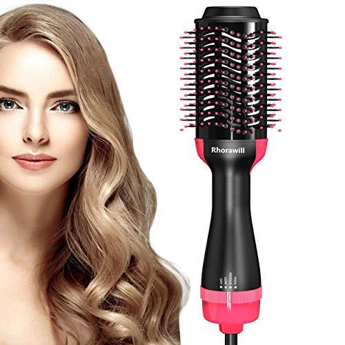 Rhorawill Haartrockner Warmluftbürste Föhnbürste 5 IN 1 Salon Hair Styler Haarglätter Bürste Föhn Pinsel Lockenwickler Volumizer Negativer Ionenfön für Alle Haartypen