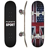 PUENTE Complete Skateboards, 31x8 inch Pro Skateboard for Boys/Girls/Kids/Youth/Adults, Tricks Skate Board for Beginners & Pro, Double Kick 7 Layer Canadian Maple Wood Concave Skateboard