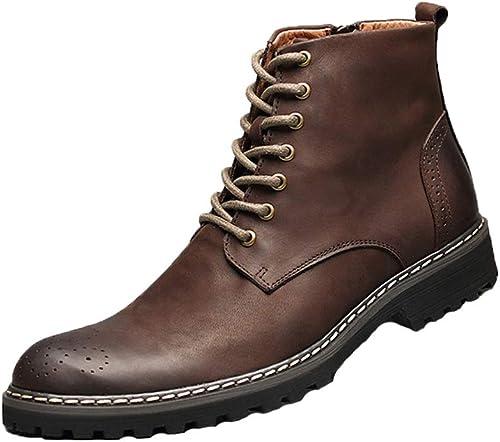 Qiusa Stiefel Chukka con Cordones para Hombre Suela Blanda Durable Antideslizante Stiefel Suela Suave Confort (Farbe   braun, tamaño   EU 43)