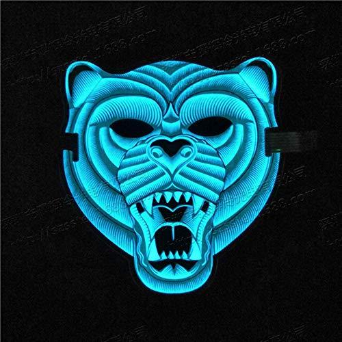 WZ YDTH Halloween Kostüm Party EL Kaltlicht Maske Prom Party Grimasse Halloween Tier Tiger Led Leuchtende Maske