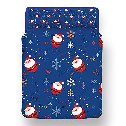 RENXR Christmas Kids Xmas Duvet Set Bed Festive Quilt Cover Printed Duvet Cover Bedding Set Happy [Vintage Father Christmas] Blue,Double