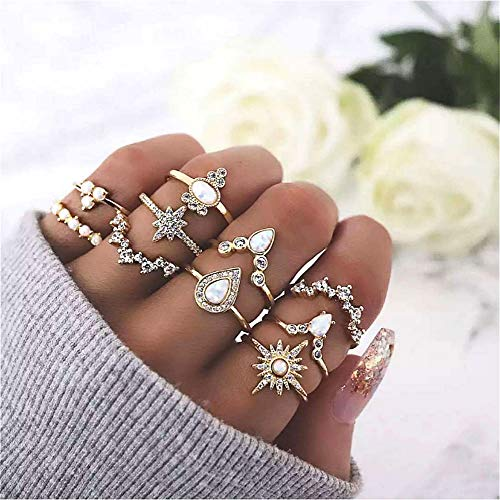 Cathercing 10 Pcs Women Rings Set Knuckle Rings Gold Bohemian Rings for Girls Vintage Gem Crystal Rings Joint Knot Ring Sets for Teens Party Daily Fesvital Jewelry Gift