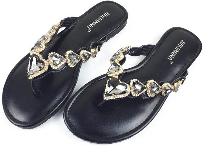 Hausschuhe Clip Toe Flip Flops Frauen, Sommer Mode Strand Sandalen und Hausschuhe, Outdoor Persnlichkeit Strass Flache Schuhe, Casual und Komfortable Damen Hausschuhe
