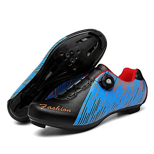ASORT Zapatillas de Ciclismo para Hombre Zapatillas de Peloton Zapatillas de Bicicleta Zapatillas de Ciclismo de Carretera Zapatillas de Ciclismo SPD Indoor,Blue+Black-44EU