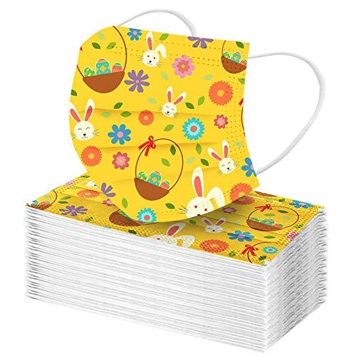 Homemarke Ostern Kinder Einweg Mundschutz,3 lagig Mund-Nasen-Schutz,Cartoon Hase Drucken Multifunktionstuch Bandana Staubdicht Atmungsaktiv Halstuch Schals(A 13,50 Stück)