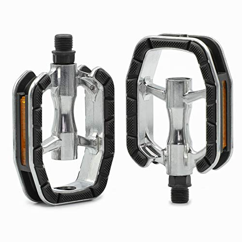 "Kartell ® City & Trekking Fahrradpedale mit Polymer-Gleitlager-Technologie, Aluminium Pedal-Körper, 9/16"" Gewinde, Silber/schwarz"