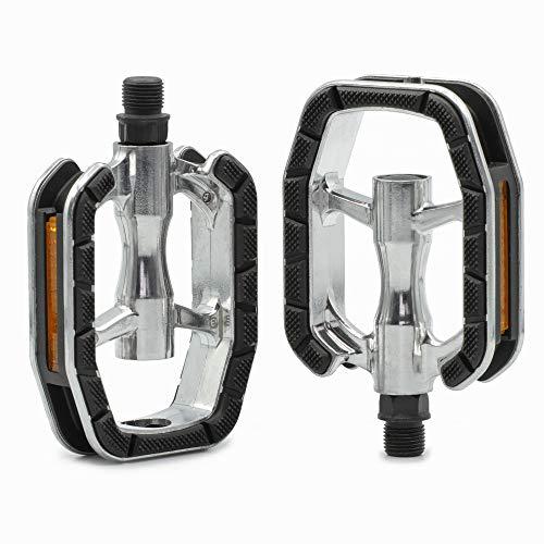 Kartell® - Set di Pedali universali per Bicicletta, con Tecnologia di Cuscinetti scorrevoli per Bici da Città, Trekking, Bici da Corsa e Biciclette elettriche, Argento/Nero