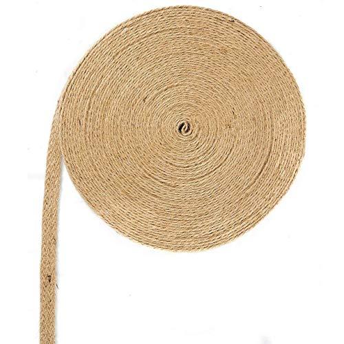 Rollo de cinta de yute natural de 20 m con cuerda de cáñamo trenzado para manualidades, decoración de boda, marrón, 1CM