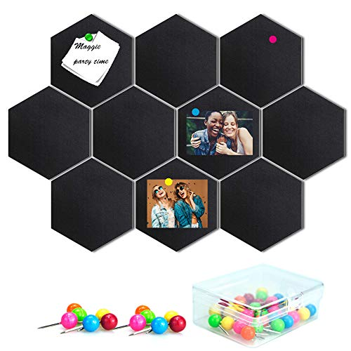 10 Packs Bulletin Board, Felt Memo Board Tiles with 30 Pieces Push Pins,Decoration for Home Office Classroom Wall, Felt Thickness 0.36 inches, Hexagon 5.9 x 7 inches(Black)