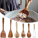 CTGVH Juego de 6 utensilios de cocina de madera cucharas de cocina espátulas de ensalada tenedor batidor para sartén antiadherente