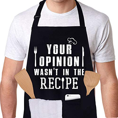 Pinata Funny Apron for Women and Men with 3 Pockets - Your Opinion Wasn't in the Recipe - Adjustable Cooking Kitchen Apron for Grilling, Cooking, BBQ - Gifts for Wife, Husband, Mom, Dad